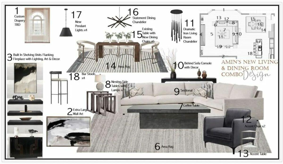 Online interior design moodboard by Decorilla interior designer Berkeley H