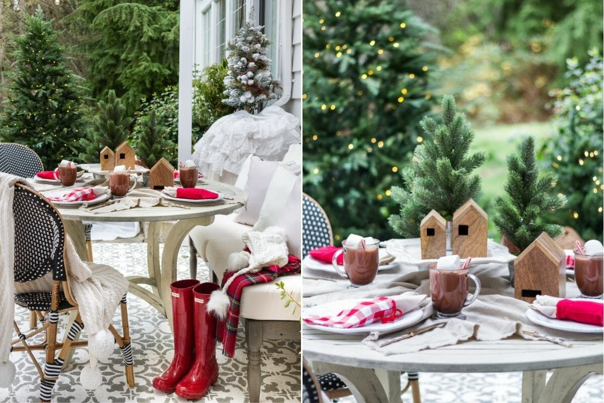 Outdoor sitting area with Christmas decorations
