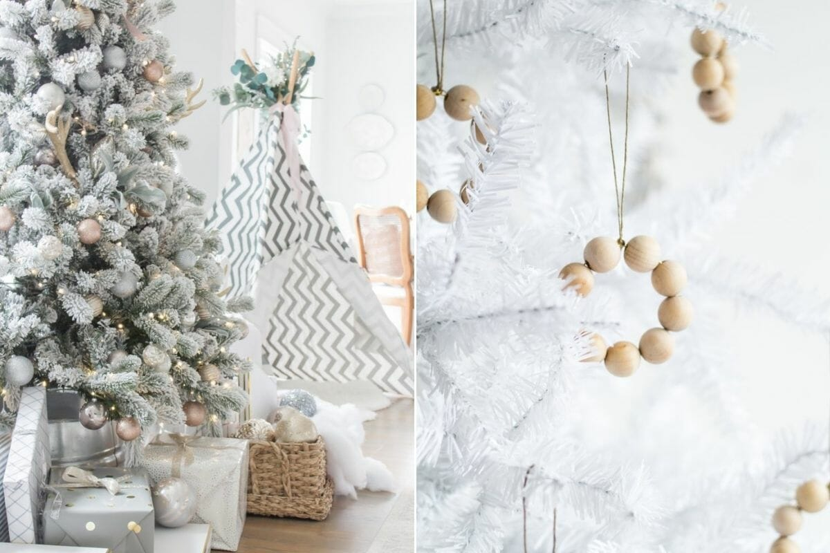 White Christmas tree with beige Christmas decorations