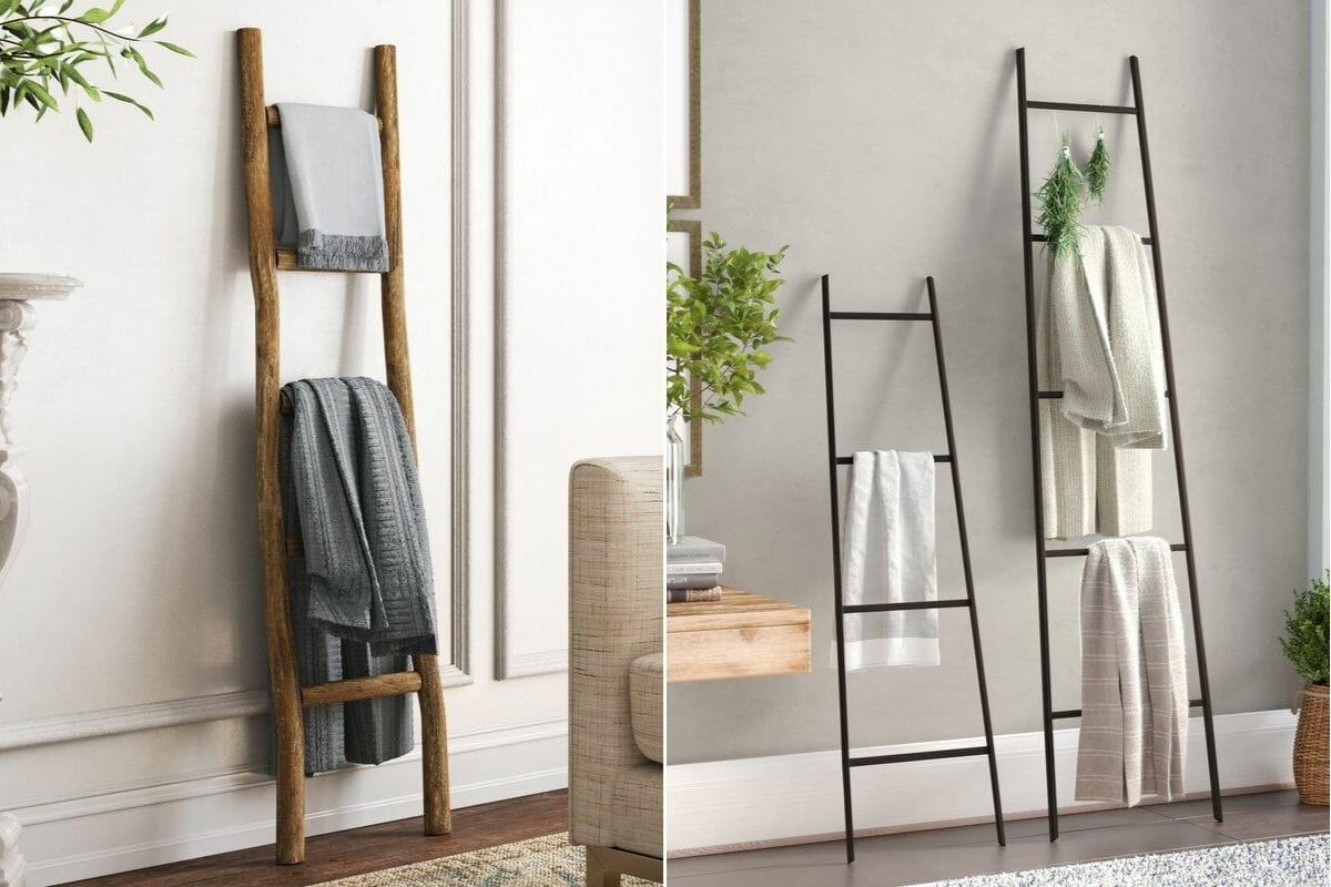 rustic wood and sleek metal blanket ladders interior design gift ideas