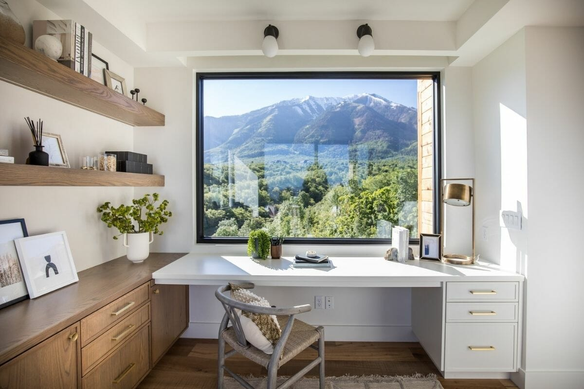Beautiful neutral home office furniture as part of creative employee incentives