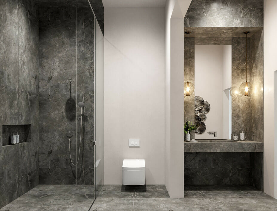 Contemporary all over grey bathroom tiles use the Pantone Color of the Year 2021 to make a statement bathroom