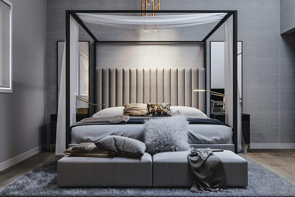 Contemporary bedroom in Pantone color of the year 2021 by Decorilla designer, Mladen C.