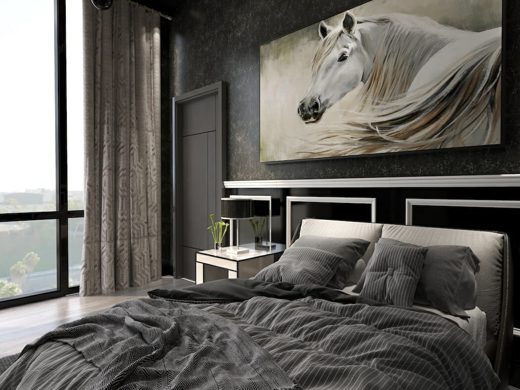 Grey color of the year accents in a modern master bedroom by Decorilla designer, KaSonndra L.