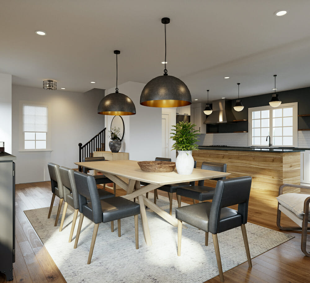 Grey dining chairs for a pop of color of the year in a modern rustic dining room