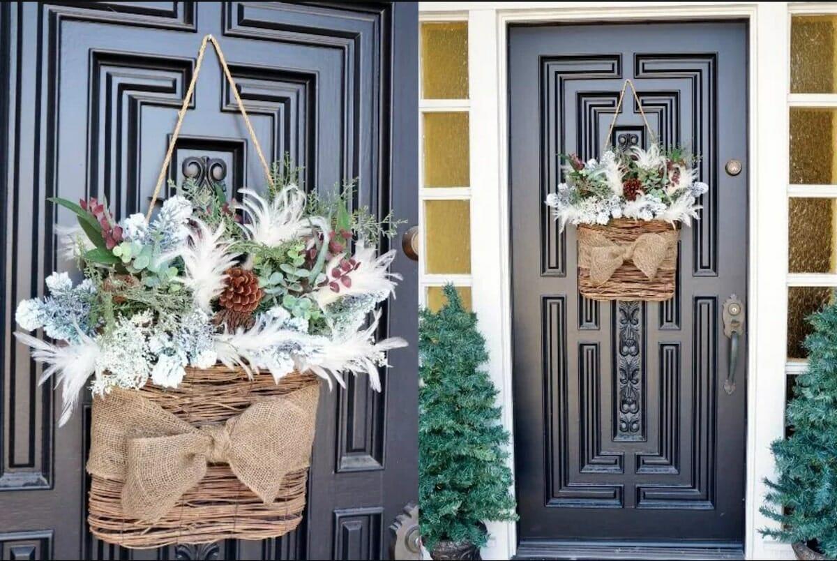 Hanging Basket winter door decoration (1)