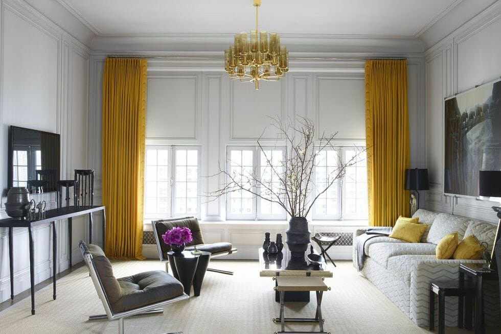 Illuminating color of the year on curtains