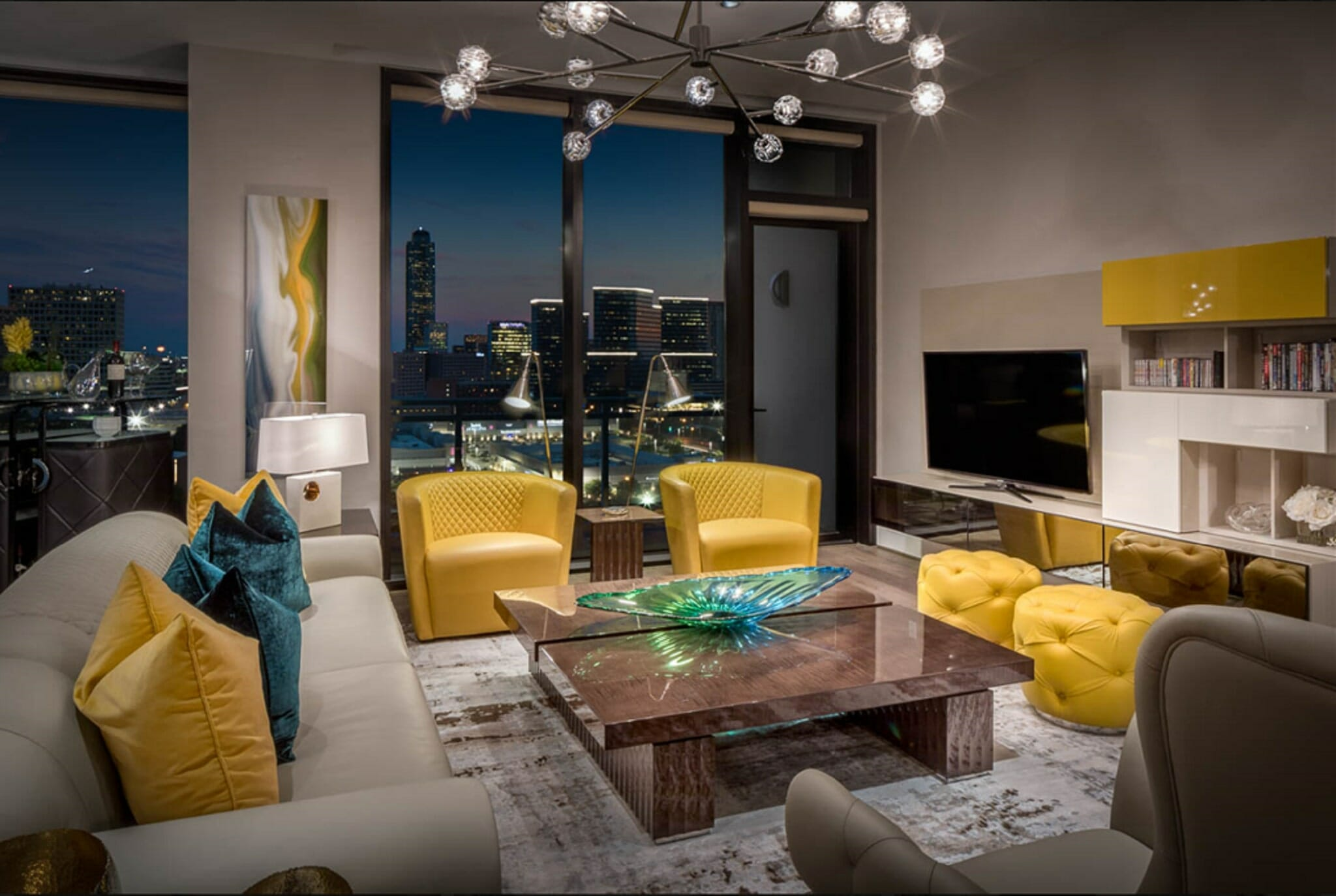 Pantone 2021 color of the year, illuminating yellow as an accent in a contemporary loft