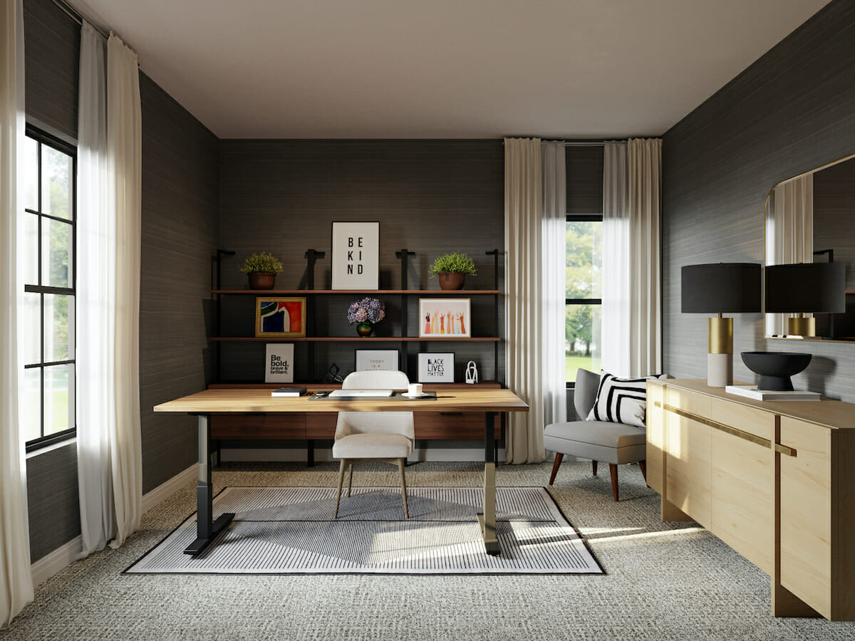 Pantone color of the year 2021 featured in home office wallpaper