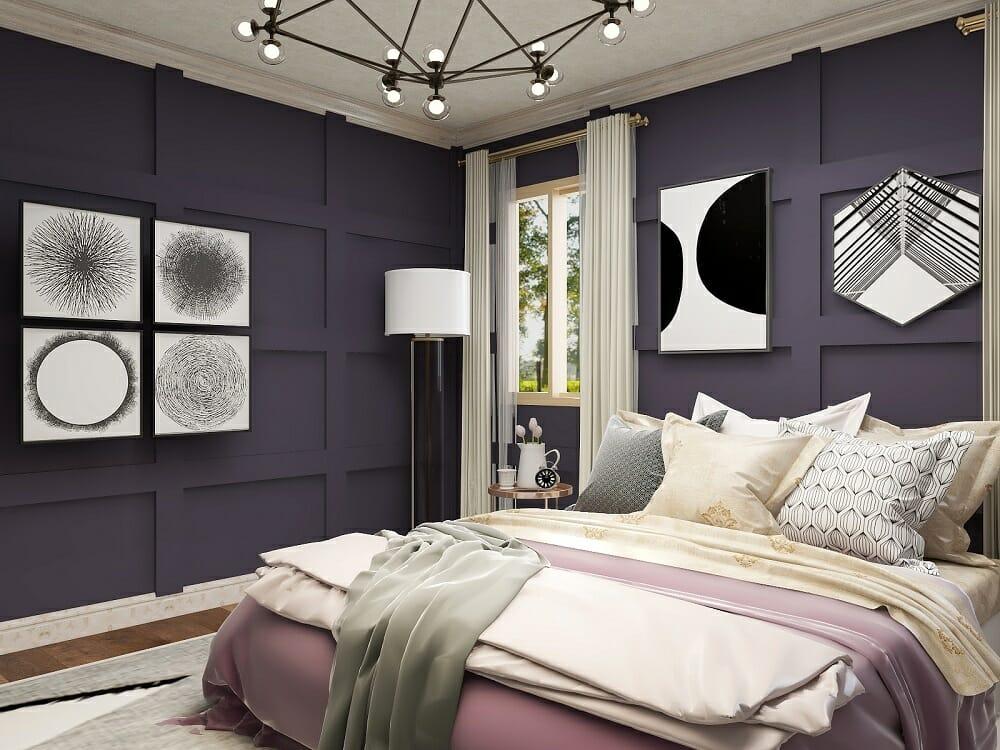 Glam purple, black and ivory bedroom by interior designer Kassondra Leigh