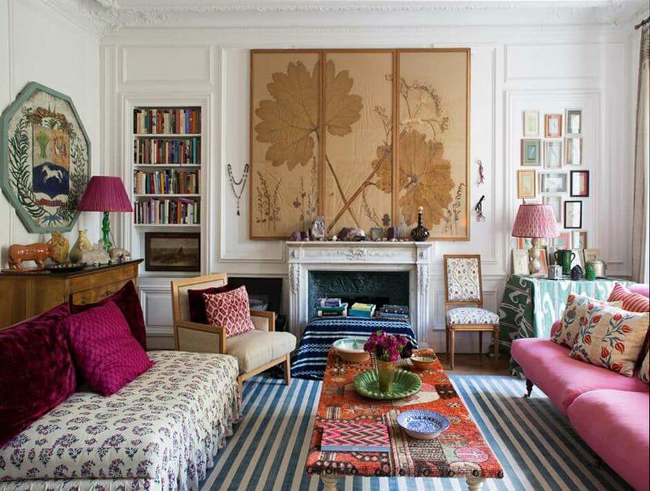 Haute bohemian living room inspires this online interior designer