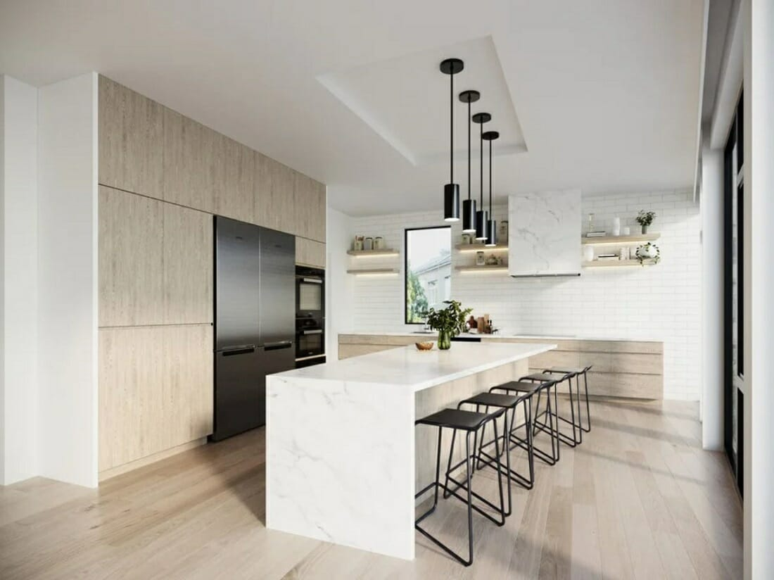 Light Ash wood, marble and white kitchen design with contemporary furniture and decor