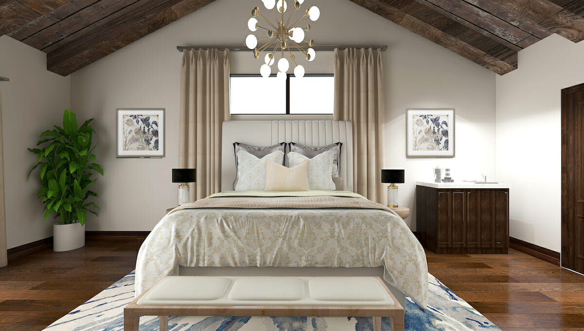 Modern Rustic master bedroom by online interior designer Kasonndra Leigh
