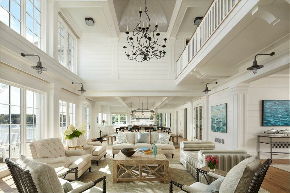 Airy neutral transitional great room design
