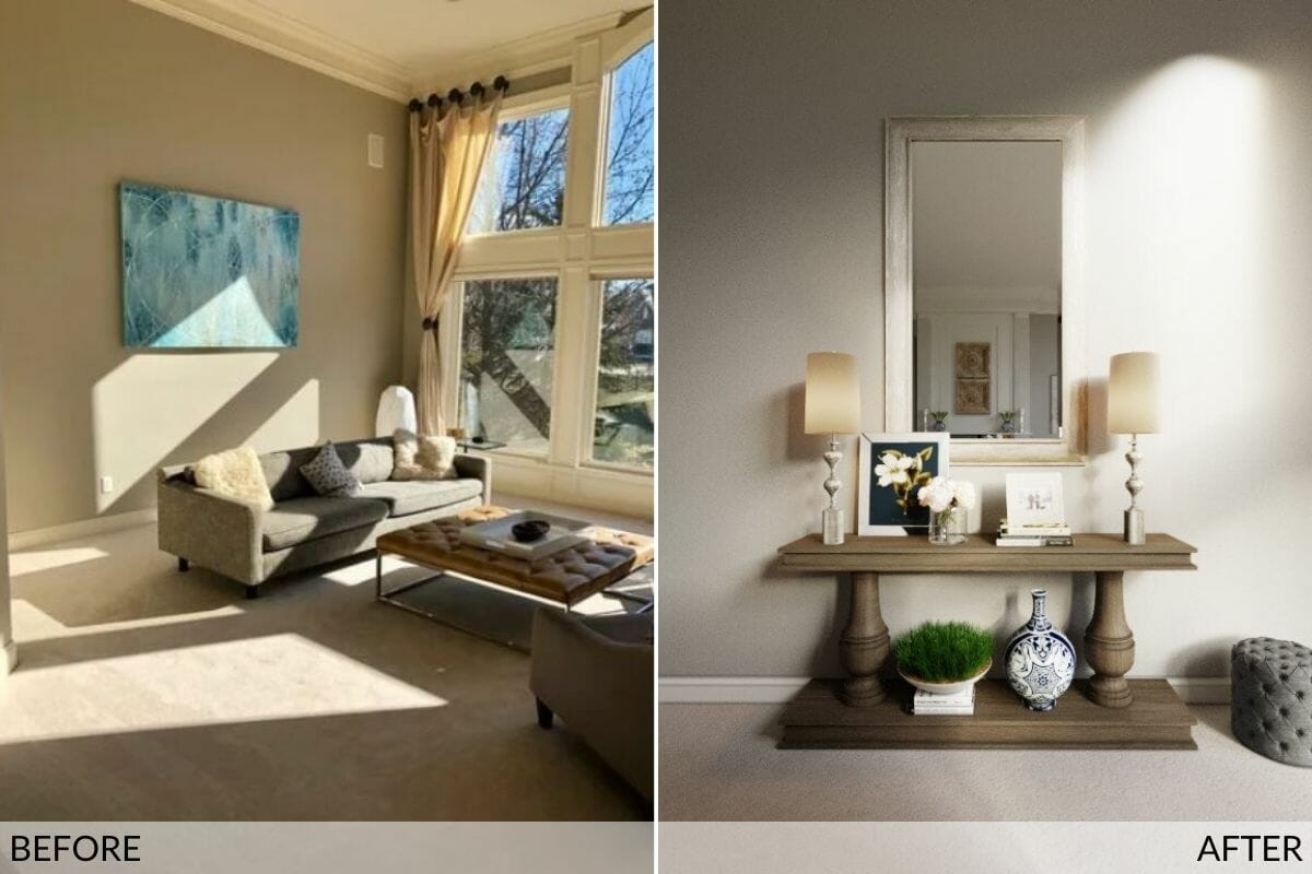 Before and after great room design