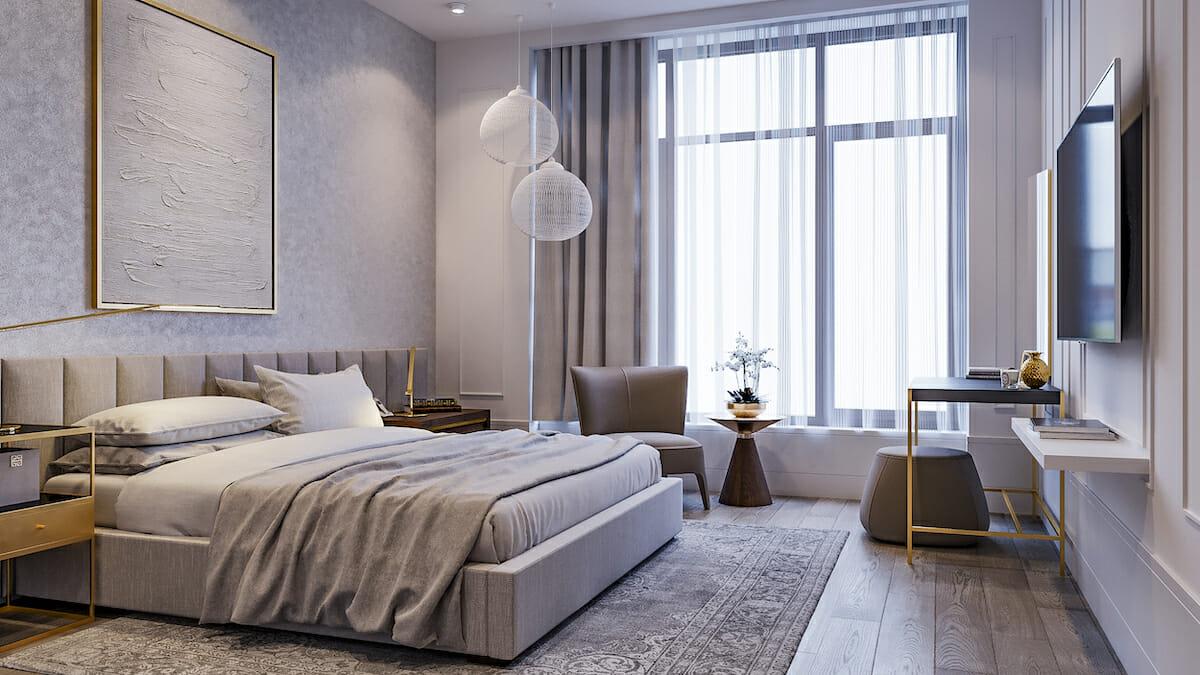 Calming gray master bedroom design