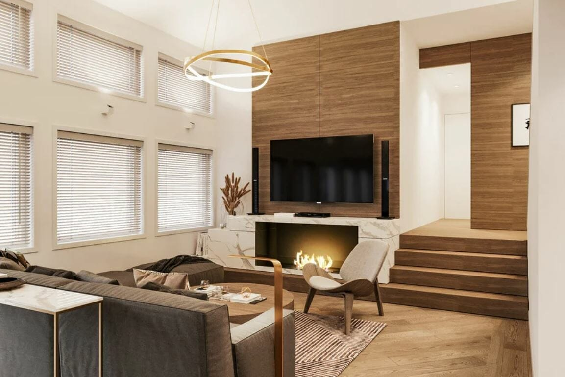 Chic contemporary design style for a living room