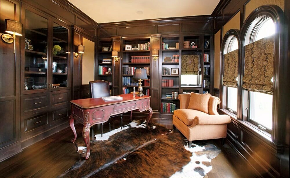 Classic home office by top columbus interior designers Pam Yost and her team