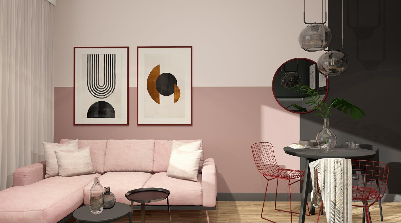Colorblocked pink accent walls in living rooms