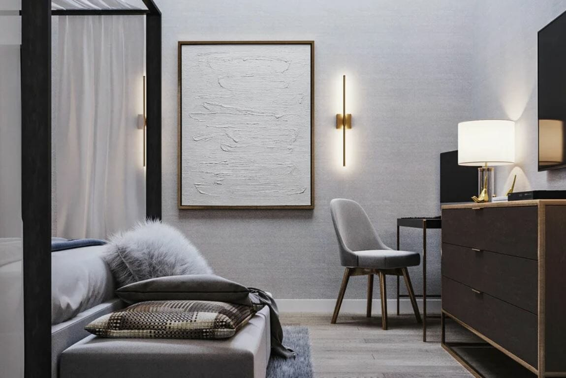Contemporary artwork in a bedroom of a house remodel
