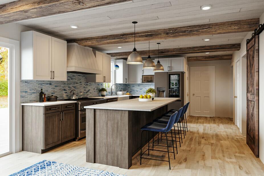 Contrasting backsplash tile ideas for a rustic kitchen