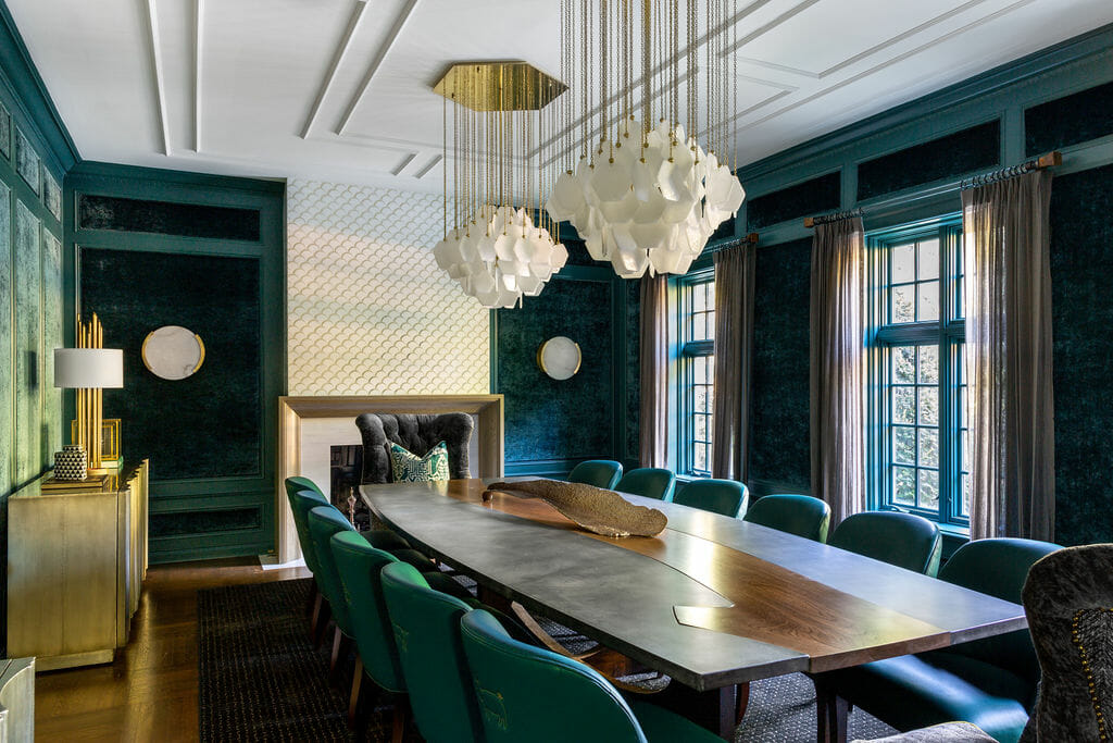 Deep green formal dining room by one of the top interior decorators in Columbus Ohio