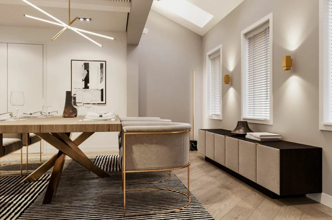 Details and contemporary house decor in a dining room