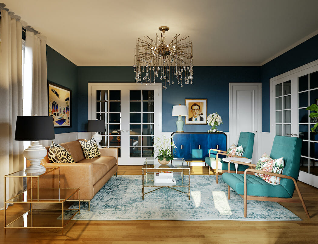 Eclectic lounge with vintage items from NYC furniture stores by Decorilla designer, Casey H.