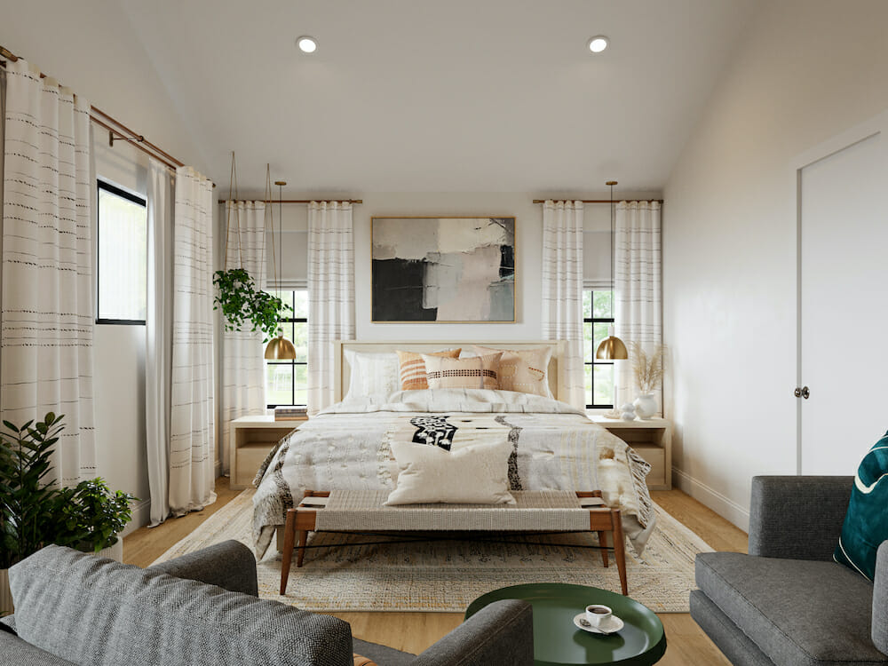 Eclectic master bedroom decor for a bohemian feel
