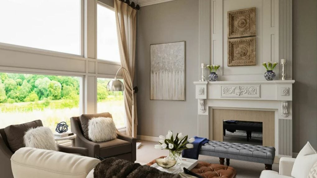 Grey and beige transitional great room with cream and blue accents