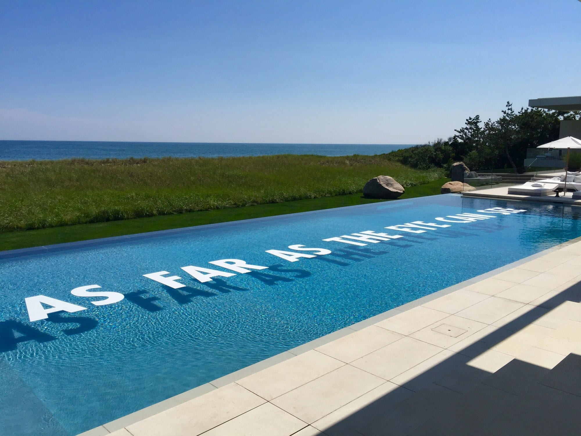 Lettering as floating pool decor