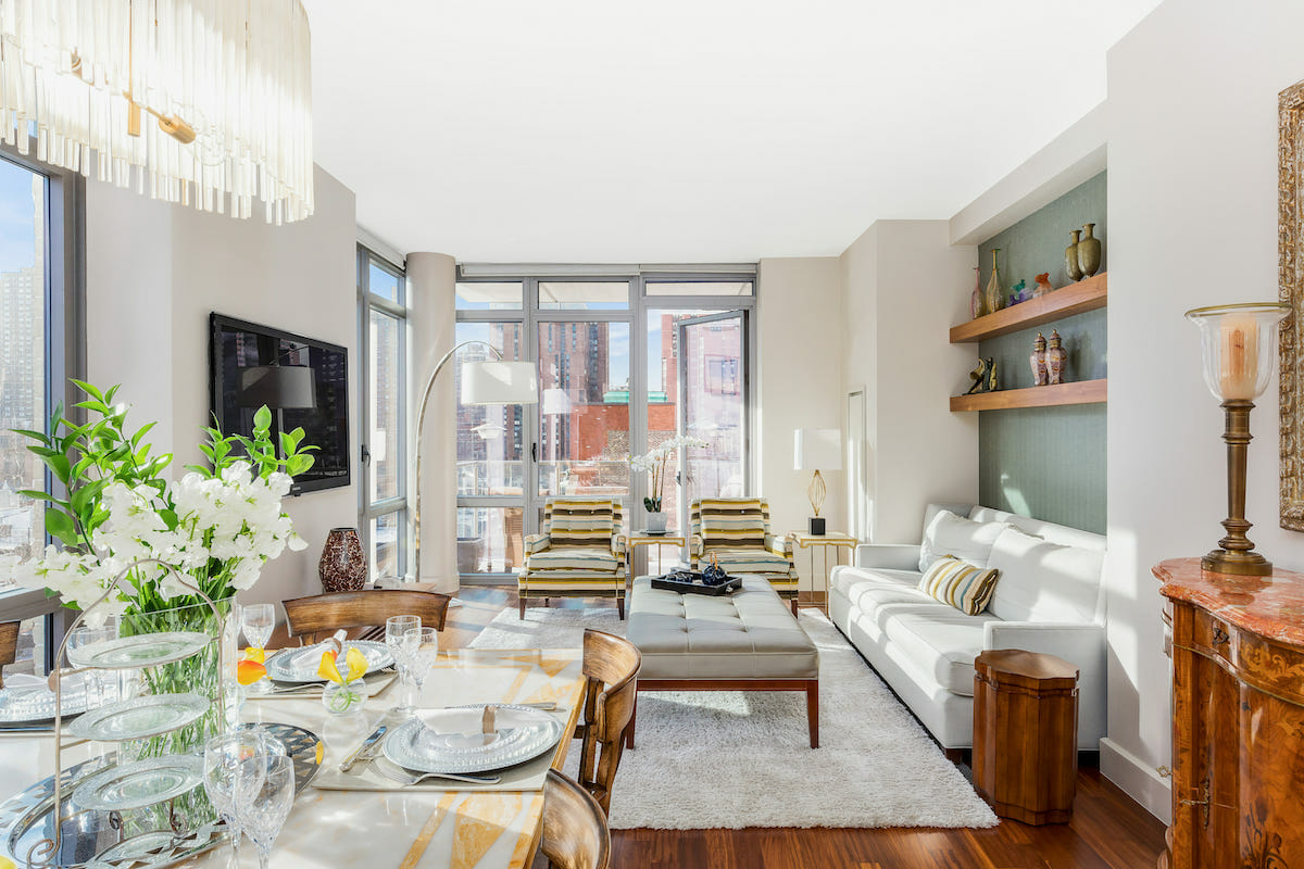 Living room with affordable decor finds from NYC furniture stores by Decorilla designers, Joyce T.