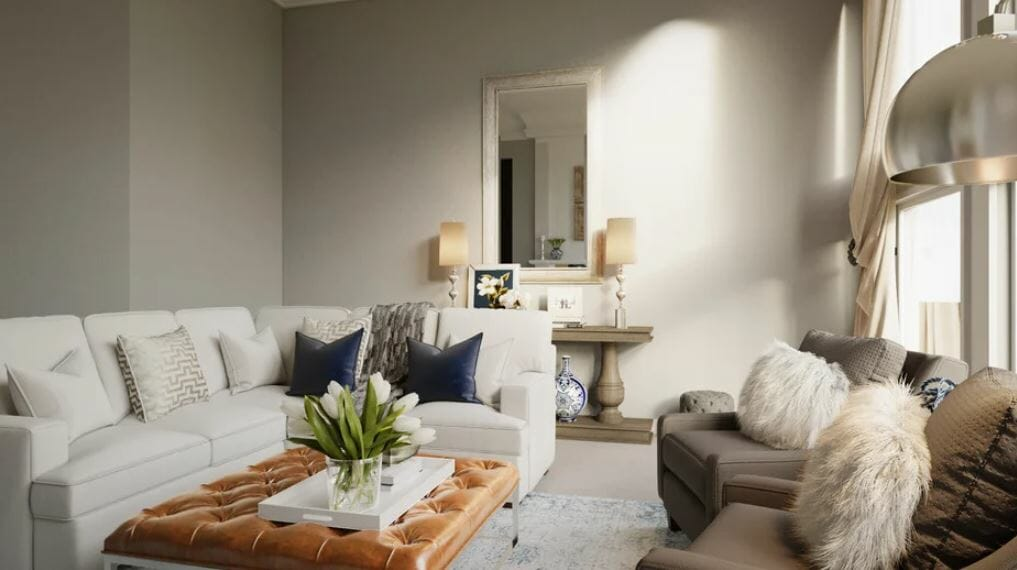 Living room with transitional great room design and a spacious layout