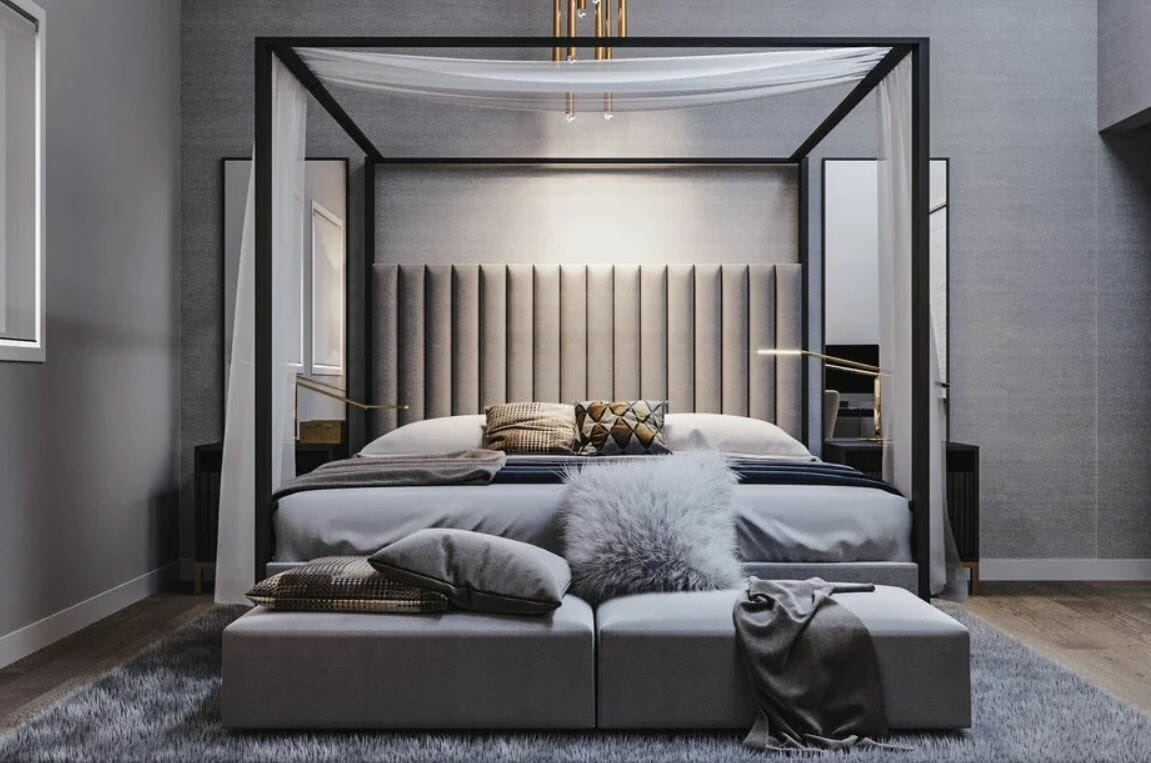 Lush contemporary design style for a bedroom