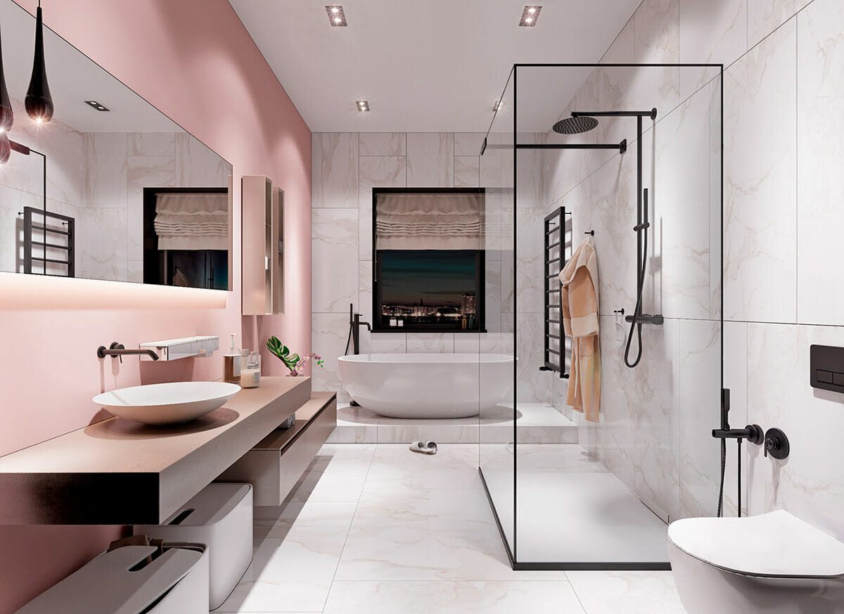 Lush pink accent wall for bathroom design