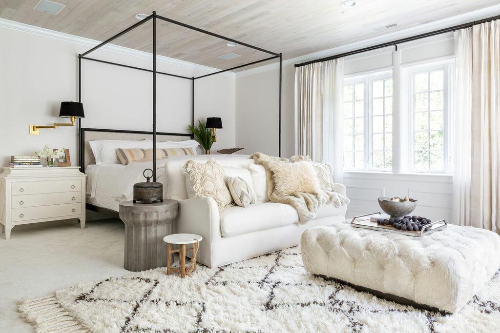 Lush texture rich bedroom by Columbus interior design - Crimson