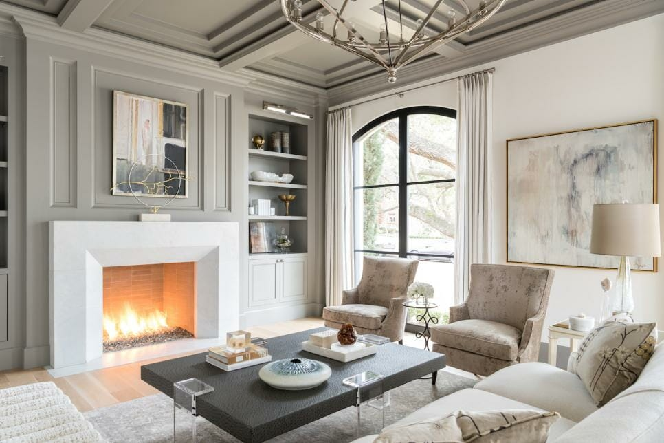 Luxury living room with grey accent wall colors