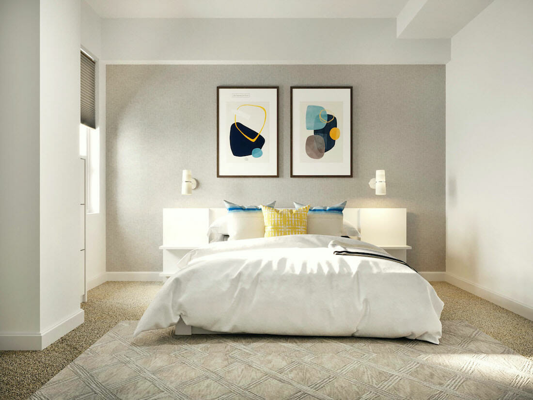 Mens-bedroom-interior-design-in-white-with-soft-blue-and-yellow-pops