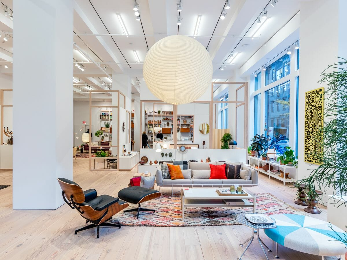Modern display in one of the best NYC furniture stores