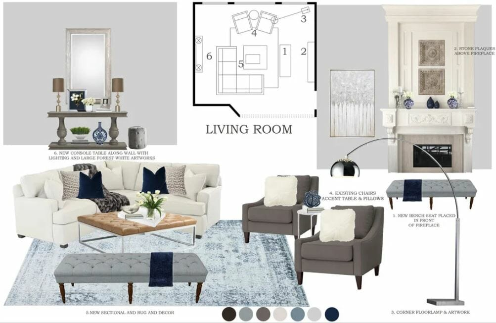 Mood board for a transitional great room design with decor and fireplace ideas