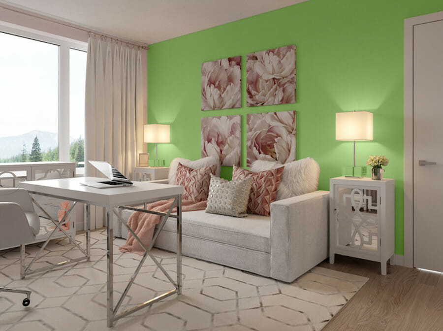 Neon green accent wall in cozy home office decor