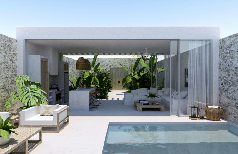 Open concept pool, patio and kitchen with white poolside decorating ideas Drew F