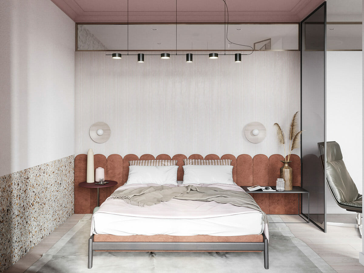 Painting accent walls in red in bedroom design