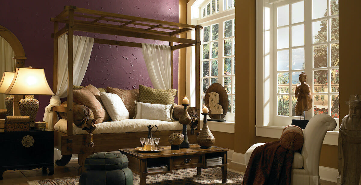 Purple accent walls in living room