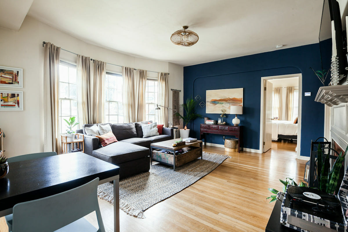 Renter friendly blue accent wall colors