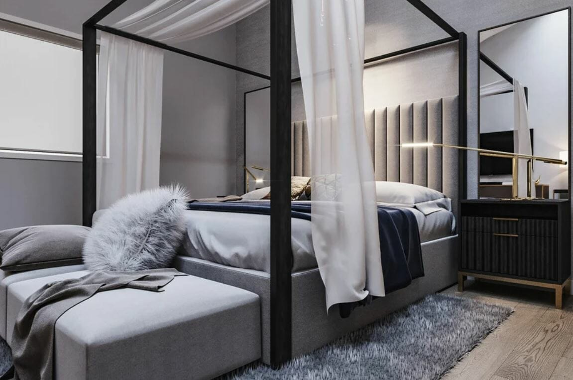 Romantic contemporary bedroom for a home remodel