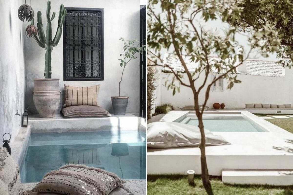 Scatter pillows next to a swimming pool as pool decor