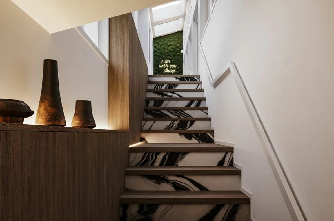 Stairway leading to a contemporary home remodel patio
