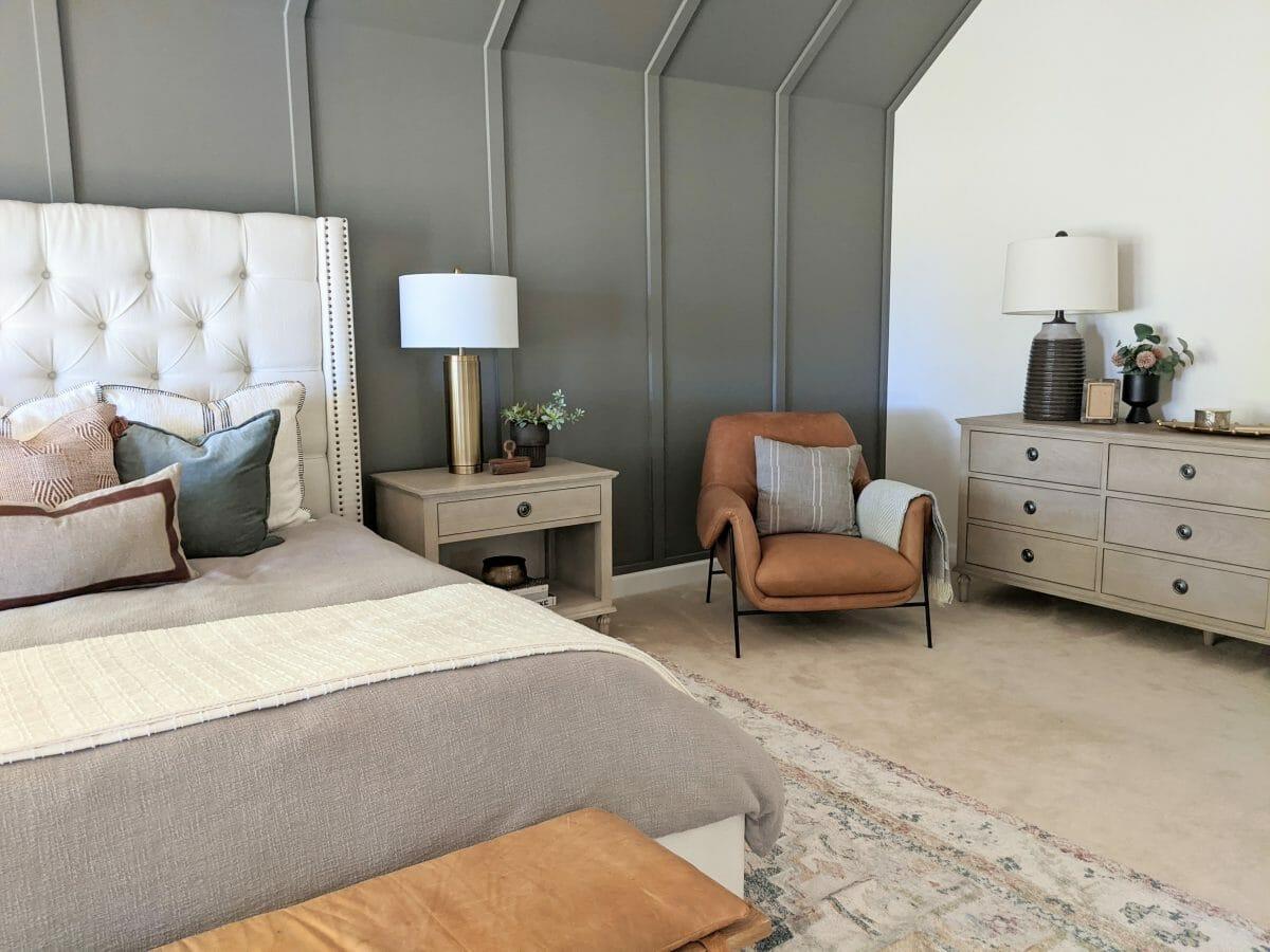 Transitional bedroom design by Columbus interior design Andrea Durcik
