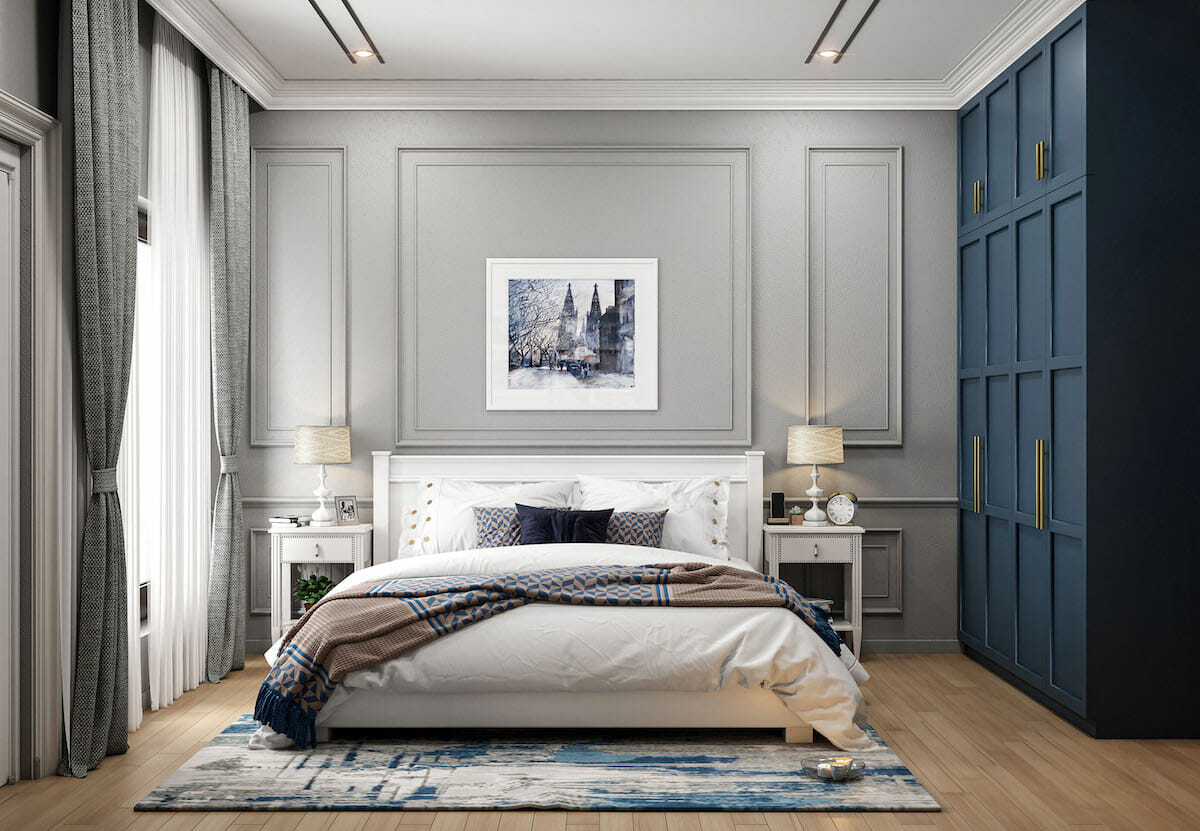 Wardrobe painted as a blue accent wall for a luxury bedroom